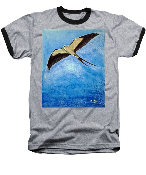 Baseball T-Shirt featuring the mixed media Swallowtail Sighting by Suzanne McKee
