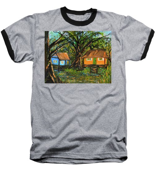 Swamp Cabins Baseball T-Shirt by Christy Usilton