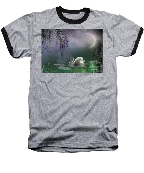 Swan By Moonlight Baseball T-Shirt