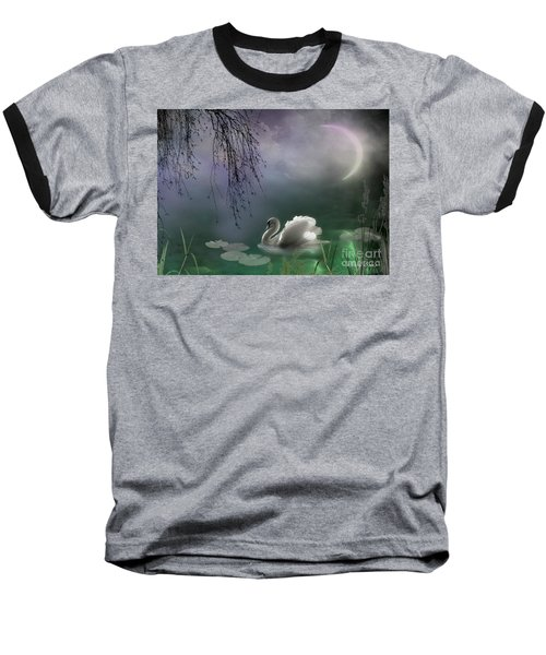Swan By Moonlight Baseball T-Shirt