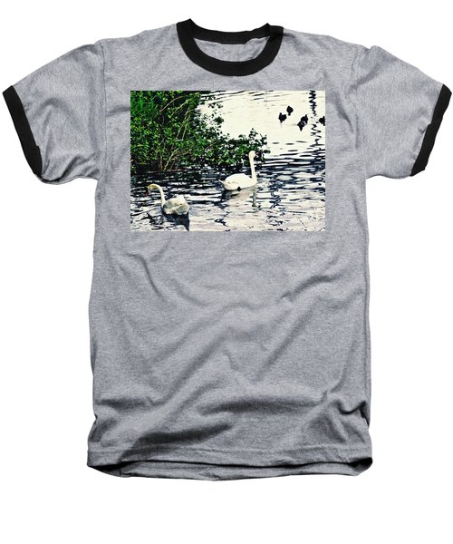Baseball T-Shirt featuring the photograph Swan Family On The Rhine 2 by Sarah Loft
