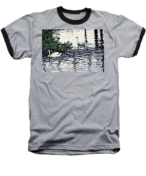 Baseball T-Shirt featuring the photograph Swan Family On The Rhine 3 by Sarah Loft