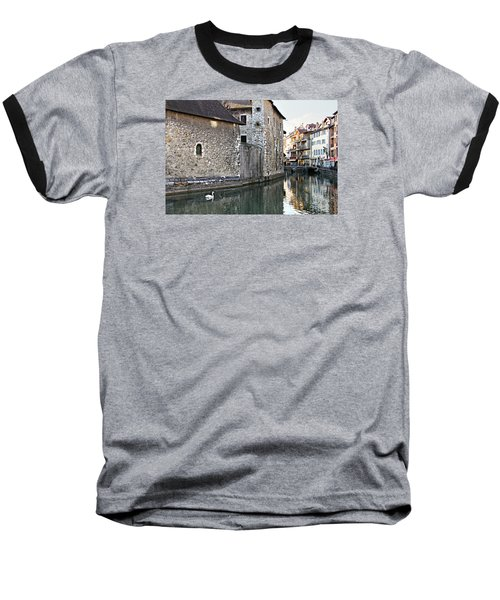 Swan In Annecy France Canal Baseball T-Shirt