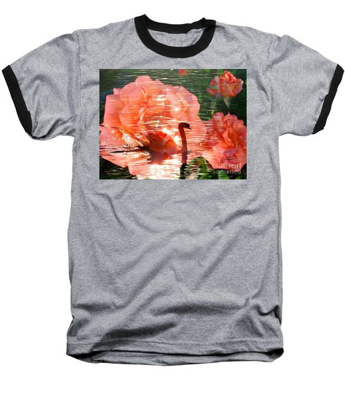 Swan In Lake With Orange Flowers Baseball T-Shirt by Annie Zeno