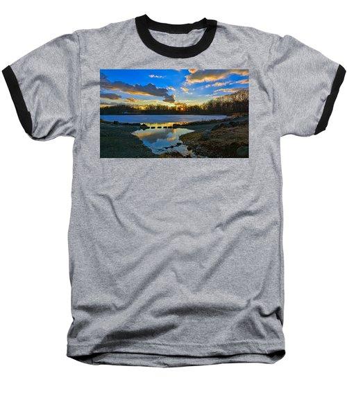 Swan Lake Sunset Baseball T-Shirt