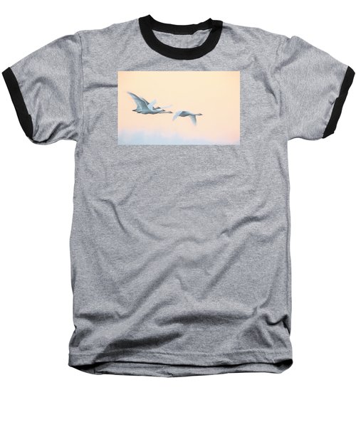Swan Migration  Baseball T-Shirt by Kelly Marquardt