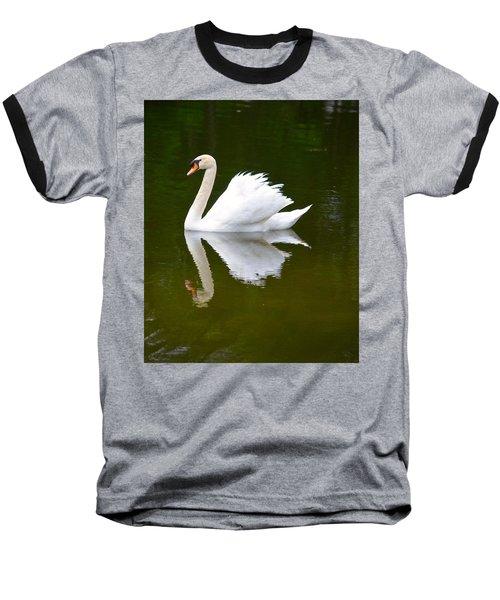 Swan Reflecting Baseball T-Shirt by Richard Bryce and Family