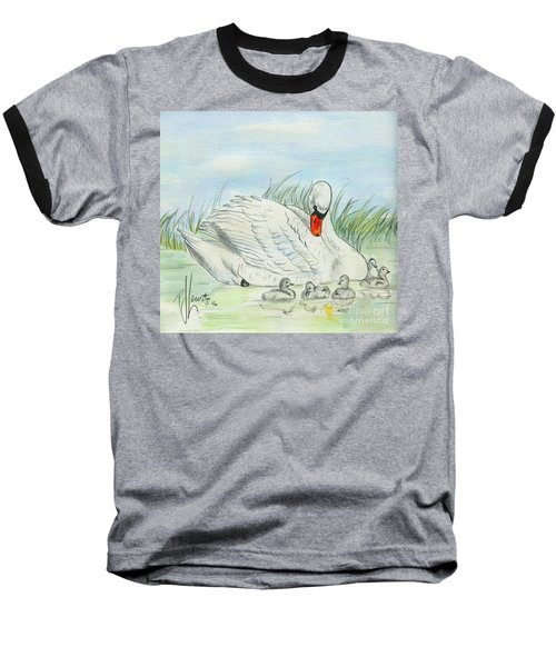 Swan Song Baseball T-Shirt by P J Lewis