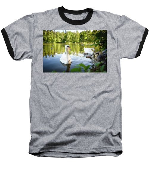 Swans With Chicks Baseball T-Shirt