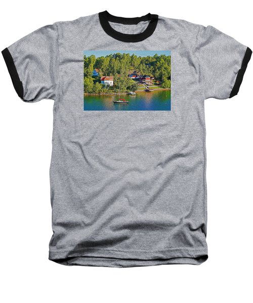 Baseball T-Shirt featuring the photograph Swedish Island Village by Dennis Cox WorldViews