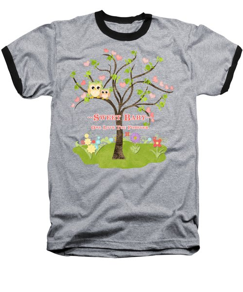 Baseball T-Shirt featuring the painting Sweet Baby - Owl Love You Forever Nursery by Audrey Jeanne Roberts