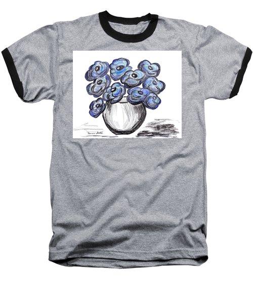 Sweet Blue Poppies Baseball T-Shirt by Ramona Matei