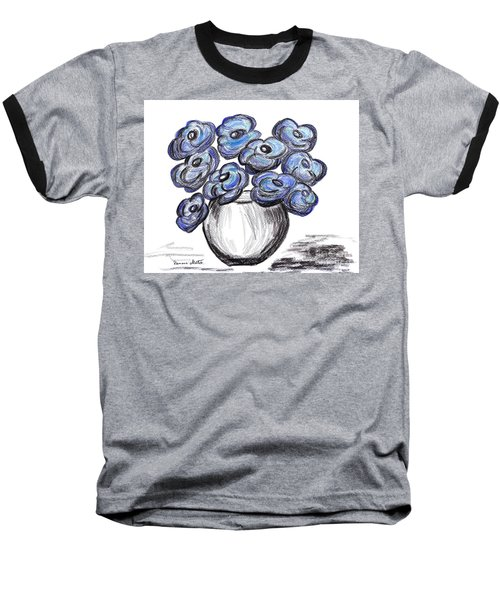 Sweet Blue Poppies Baseball T-Shirt