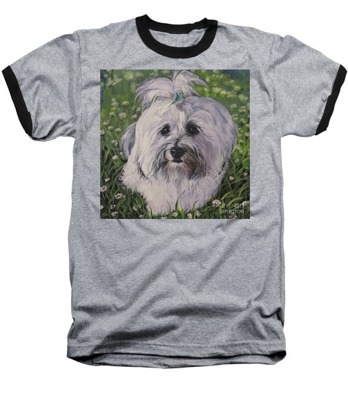 Baseball T-Shirt featuring the painting Sweet Havanese Dog by Lee Ann Shepard