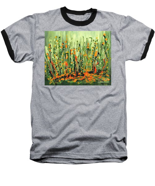 Baseball T-Shirt featuring the painting Sweet Jammin' Peas by Holly Carmichael