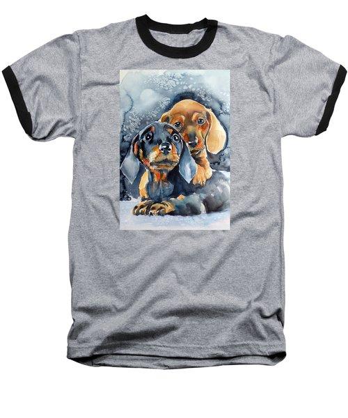 Sweet Little Dogs Baseball T-Shirt by Kovacs Anna Brigitta