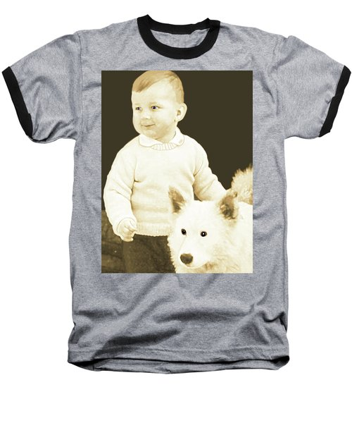 Sweet Vintage Toddler With His White Mutt Baseball T-Shirt
