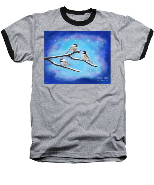 Baseball T-Shirt featuring the painting Sweetest Winter Birdies by Leslie Allen