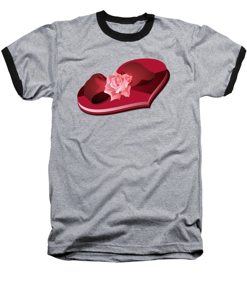 Sweetheart Candy Box With Pink Rose Baseball T-Shirt