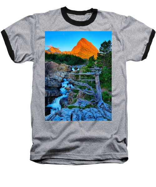Swiftcurrent Falls Baseball T-Shirt by Greg Norrell