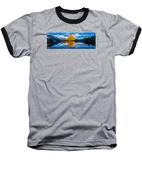 Swiftcurrent Lake Sunrise Panorama Baseball T-Shirt