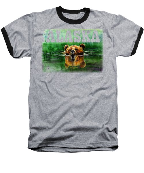 Swiming Grizzly Shirt Baseball T-Shirt