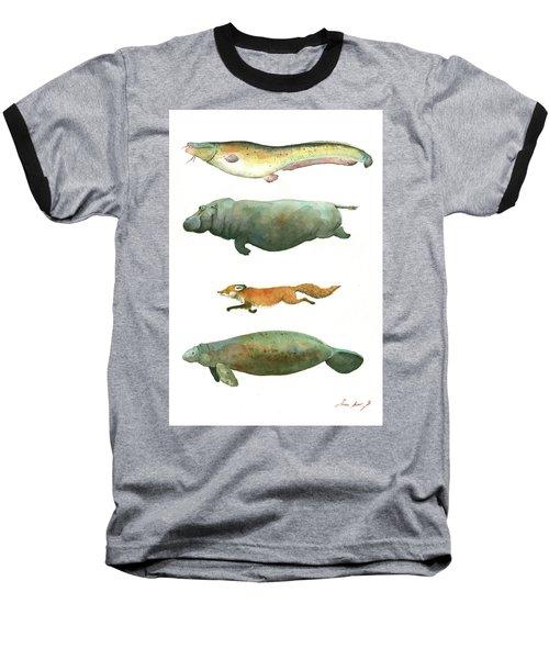 Swimming Animals Baseball T-Shirt by Juan Bosco