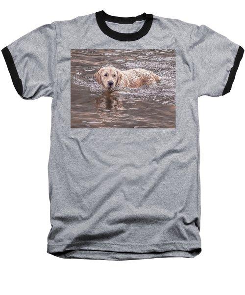 Swimming Puppy Baseball T-Shirt