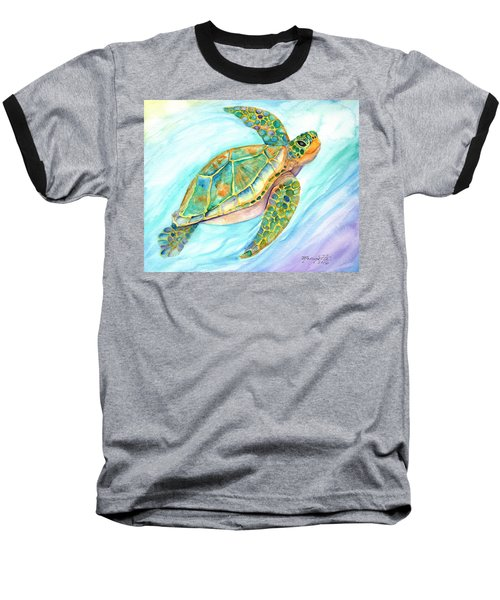 Swimming, Smiling Sea Turtle Baseball T-Shirt