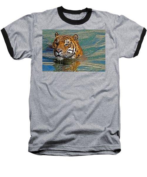 Swimming Tiger Baseball T-Shirt