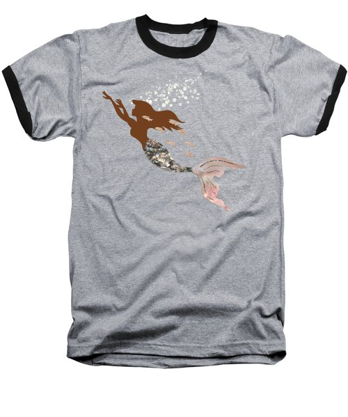 Swimming With The Fishes A Brown Mermaid Racing Rose Gold Fish Baseball T-Shirt