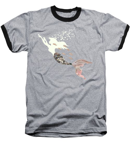 Swimming With The Fishes A White Mermaid Racing Rose Gold Fish Baseball T-Shirt