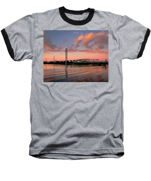 Swing Bridge At Sunset, Topsail Island, North Carolina Baseball T-Shirt