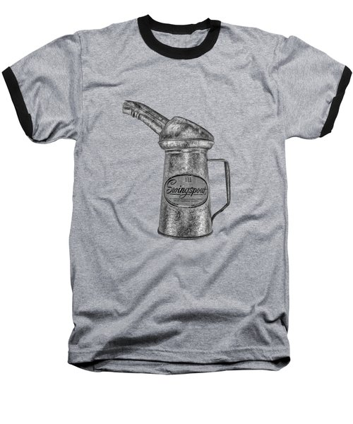 Swingspout Oil Can Bw Baseball T-Shirt by YoPedro