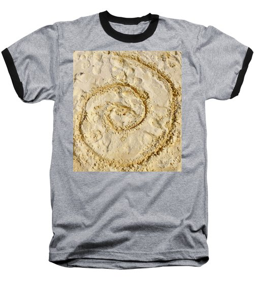Baseball T-Shirt featuring the photograph Swirl Drawn In The Sand by Francesca Mackenney