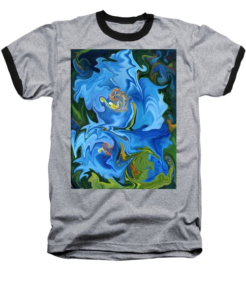 Swirled Blue Poppies Baseball T-Shirt