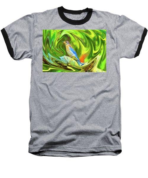 Swirling Bluebird  Baseball T-Shirt