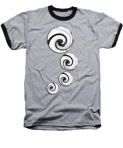 Swirling Round Baseball T-Shirt by Shawna Rowe