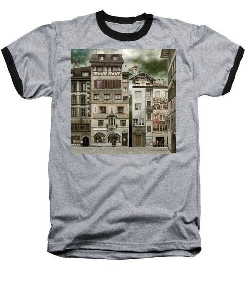 Swiss Reconstruction Baseball T-Shirt by Joan Ladendorf