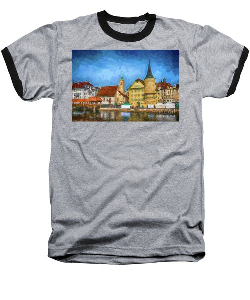 Swiss Town Baseball T-Shirt by Pravine Chester