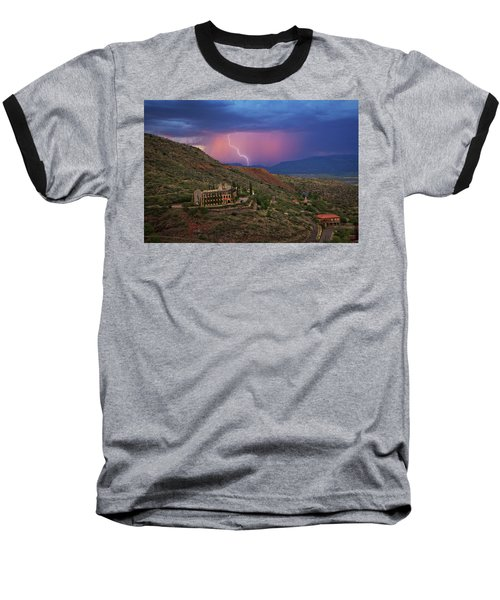 Baseball T-Shirt featuring the photograph Sycamore Canyon Lightning With Little Daisy by Ron Chilston