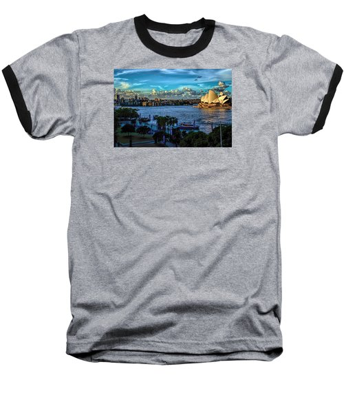 Sydney Harbor And Opera House Baseball T-Shirt by Diana Mary Sharpton