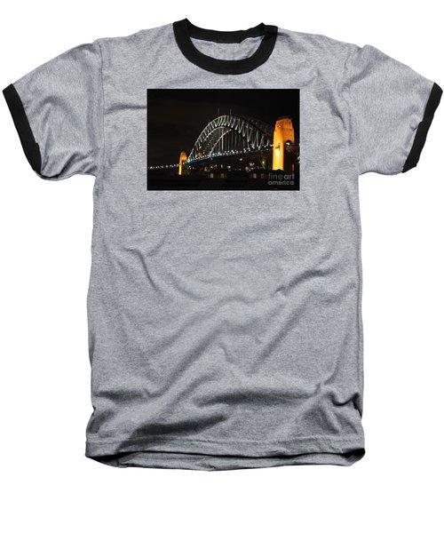 Sydney Harbor Bridge At Night Baseball T-Shirt by Bev Conover