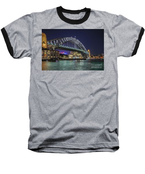 Sydney Harbor Bridge At Night Baseball T-Shirt