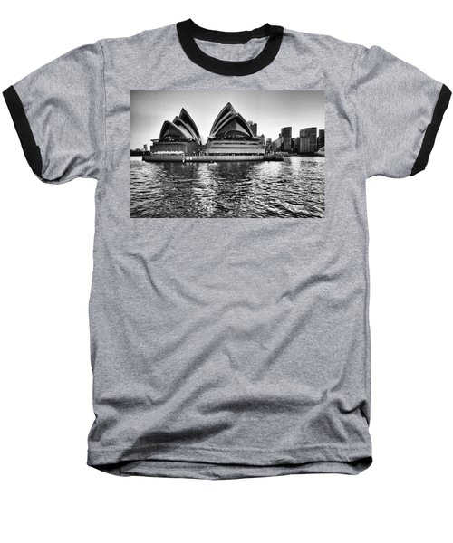 Sydney Opera House-black And White Baseball T-Shirt by Douglas Barnard
