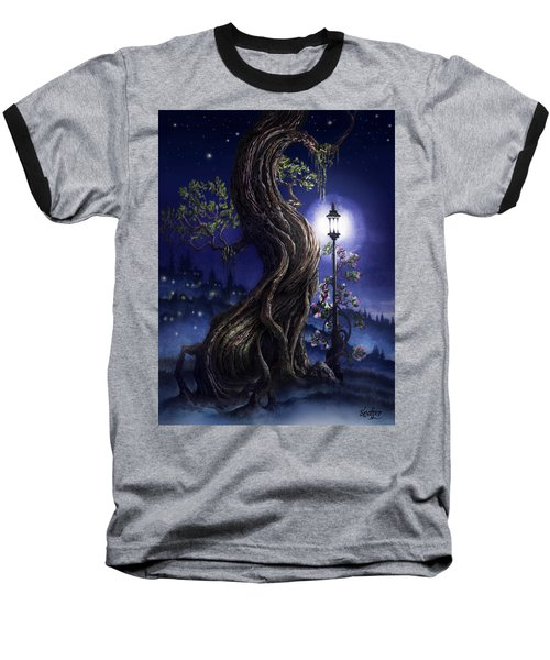 Baseball T-Shirt featuring the painting Sylvia And Her Lamp At Dusk by Curtiss Shaffer