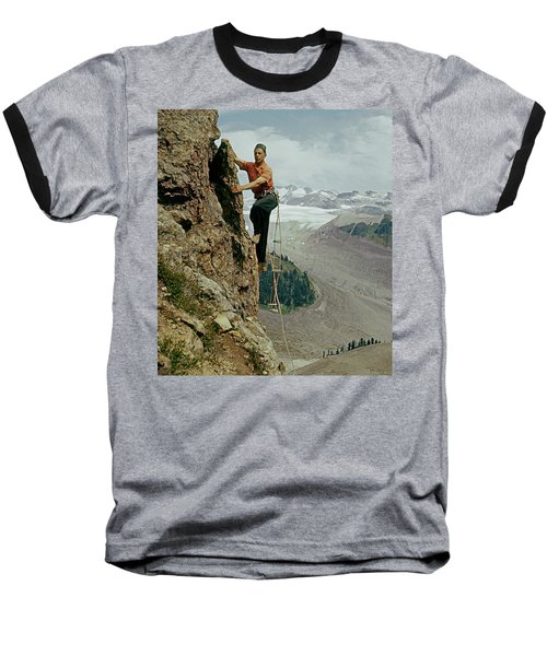 T-902901 Fred Beckey Climbing Baseball T-Shirt