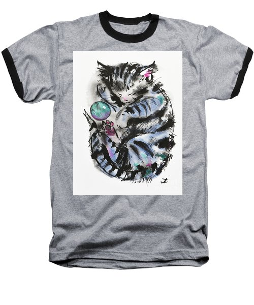 Tabby Dreams Baseball T-Shirt by Zaira Dzhaubaeva