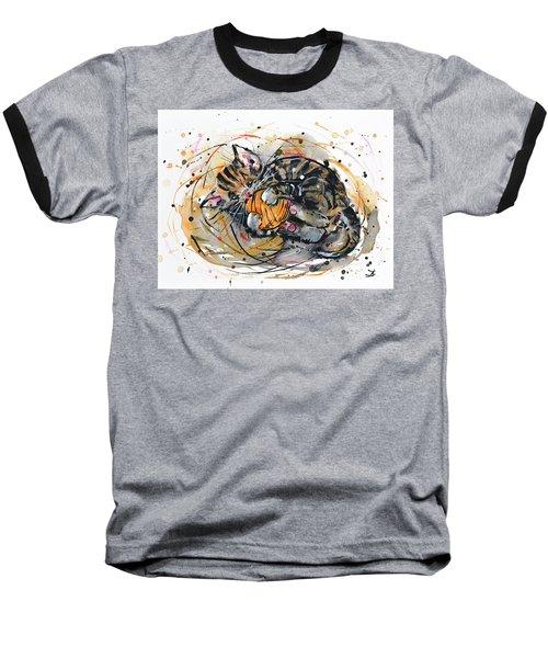 Baseball T-Shirt featuring the painting Tabby Kitten Playing With Yarn Clew  by Zaira Dzhaubaeva