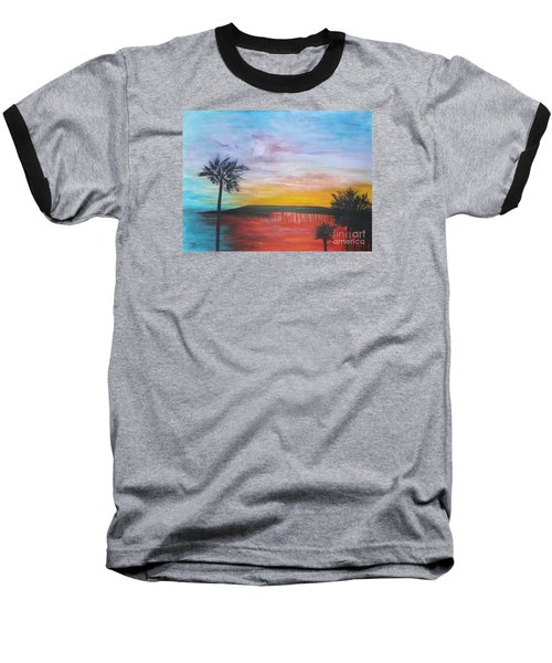 Table On The Beach From The Water Series Baseball T-Shirt by Donna Dixon